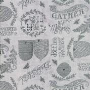 Moda - Bee Joyful - 6494 - Beehive Sketches with Phrases on Grey - 19873 14 - Cotton Fabric
